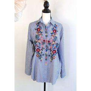 Zara Woman Blue Striped Floral Button Down Shirt